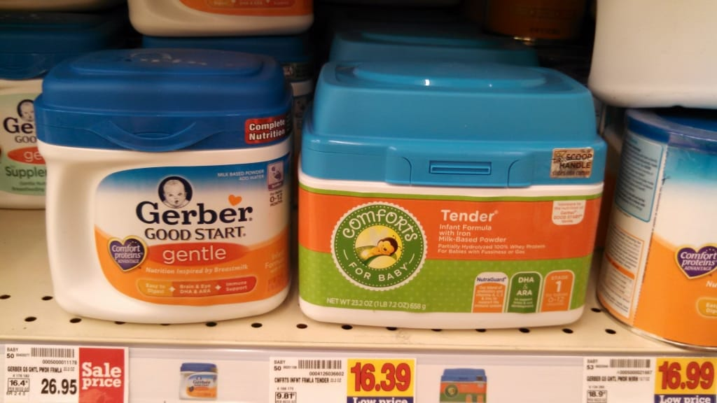 Store brand formula Comforts for baby Tender